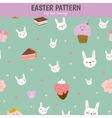 Cute pattern with sweets cupcakes bunnys hearts vector image