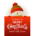 cute snowman stands behind red signboard vector image vector image