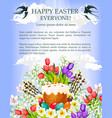 easter cake egg and flower poster template vector image