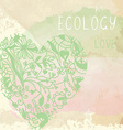 Ecology background with floral heart and paper vector image