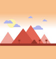 egypt pyramids with palms in desert flat design vector image vector image