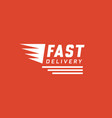 fast delivery design on red background vector image vector image