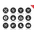 Flying drones icons on white backgrond vector image vector image