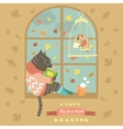 Funny cat reading by the window vector image vector image