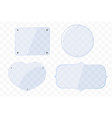 glass plates different shapes on a transparent vector image vector image