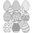 Hand drawn artistic Easter eggs pattern for adult vector image
