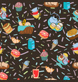 hand-drawn cartoon background with food and vector image vector image