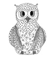 hand drawn owl in entangle style vector image vector image