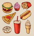 hand drawn set fast food vector image
