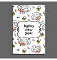 Happy new year greeting card with dragon and vector image vector image