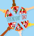 International friendship day 30 July Pizza pieces vector image