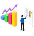 man studies statistics shown on bar chart analyze vector image vector image