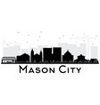 mason city iowa skyline black and white silhouette vector image vector image