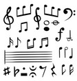 music notes musical note key silhouette treble vector image
