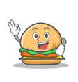 Okay burger character fast food vector image
