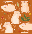 seamless pattern with cute mouses in scandinavian vector image vector image