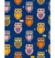 Seamless Pattern with Sleepy Color Owls in the