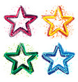set grunge colorful stars vector image