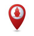 ship icon red map pointer vector image vector image