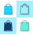 shopping bag icon set in flat and line styles vector image