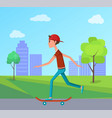 side view skateboarder riding city park skateboard vector image vector image