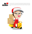 Smile delivery man on scooter motorcycle and vector image vector image
