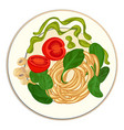 Spinach with spaghetti icon cartoon style
