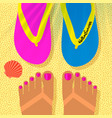 summer vacation template with tanned womans feet vector image vector image