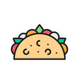 taco mexican dish traditional fast food flat vector image