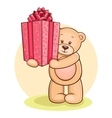 teddy gives present vector image