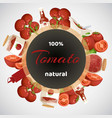 tomatoes vegetables organic products circle banner vector image vector image
