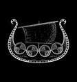 viking ship hand drawn sketch on black background vector image