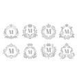 vintage monogram emblem luxury ornate silver logo vector image
