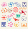 vintage romantic postal stamps love vector image