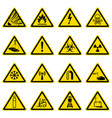 warning and hazard symbols on yellow triangles vector image vector image