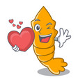 with heart cooked shrimps isolated on mascot vector image