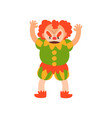 angry red haired clown standing with arms raised vector image vector image
