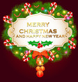 background with fir branches christmas balls and vector image