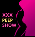 banner or poster erotic show for adults pip show vector image vector image