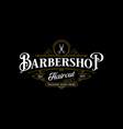 barbershop logo design vintage lettering on dark