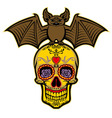 bat stand over the sugar skull vector image vector image