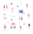 beach holiday - flat design style set isolated vector image vector image