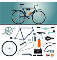 bicycle constructor realistic bike and parts vector image