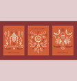 boho hand drawn set cards banners vector image vector image