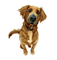 brown dog with a happy face out facing camera vector image vector image