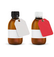 brown plastic bottles with paper tag vector image