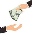 Business Hand Receiving Money Bill vector image vector image