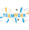 business hands holding teamwork word on desk vector image vector image