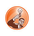 Businessman Holding Lightbulb Woodcut vector image vector image