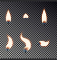 candle flame set isolated on checkered background vector image vector image